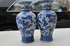 Pair Antique  CHINESE  18th 19th Century Blue And White Porcelain Vase