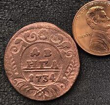 1734 DENGA OLD RUSSIAN IMPERIAL COIN. ORIGINAL
