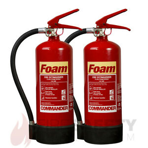 NEW TWO 3 LITRE FOAM FIRE EXTINGUISHER