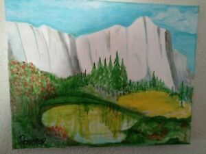 White Cliffs Landscape by Rodster 14 X11 Original Acrylic Painting Fauvism