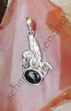 CIONDOLO Pegasus con ali cavallo argento sterling 925 con onice