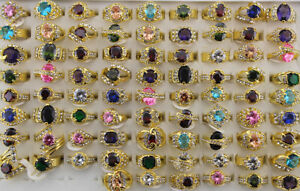 Wholesale Job Lots 40pcs Rhinestone&Cubic zirconia Gold P Women Lady's Rings