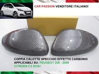 CALOTTE SPECCHIO PEUGEOT 208 CARBON LOOK STEMMA LOGO SPECCHIETTI RETROVISORI