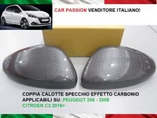 Caps Mirror Peugeot 208 Carbon Look Coat of Arms Logo Rear-View Mirrors