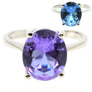 12x10mm romantische Color Changing Alexandrit Topas für Frauen Silber Ringe 8.0