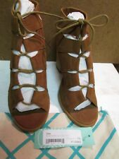 Diba Cognac Kyra Suede Lace Up Block Heels Open Toes 7.5