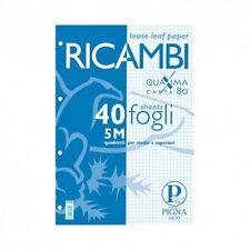 Conf. n. 5 Ricambi bianchi  per quaderni Pigna - 15x20,5cm - 5mm 40 fogli