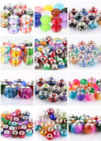 Mix 10pcs silver MURANO beads LAMPWORK for European charm bracelet wholesale