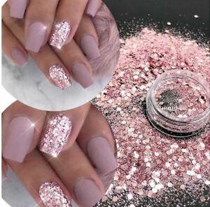 Chunky Nail Art Glitter Pot Nail Gel Art Manicure Face Body Craft UK 25 Designs