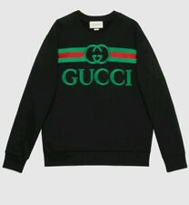 GUCCI Men's Black Sweatshirt with Gucci Logo Embroidered Size M UNISEX PRE-OWNED