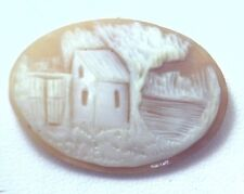 NOS Antique Hand Carved Oval Shell CAMEO Stone House & Tree Scene #N447