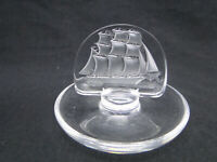 Lalique Clipper - Sailing Ship Ring Dish Clear & Frosted Crystal