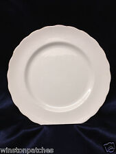 """ROSINA QUEENS SALAD PLATE 8 1/8"""" ALL WHITE WITH GOLD TRIM SCALLOPED BONE CHINA"""