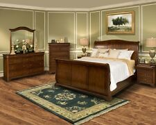 4pc Queen Size Sleigh Bed Bedroom Furniture Set Tobacco & Antique Brass Finish