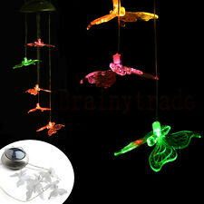 Solar Color Changing LED Butterfly Wind Chimes Home Garden Decor Light Lamp US