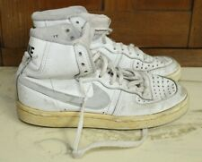 Vtg 1982 1980s Nike Leather Hi-Top Basketball Shoes White & Grey Size 5 Sneakers