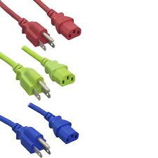 1FT-10FT Red Blue Green Color AC Power Cord NEMA5-15P/IEC320 C13 18AWG 10A 125V