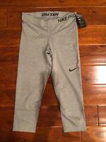 NWT New Womens Nike Pro Grey Capri Leggings Dri-Fit Size Large L $42
