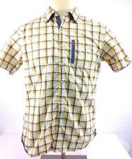 Robert Graham Yellow/Blue/White Plaid Button Down Short Sleeve Boys Large Shirt