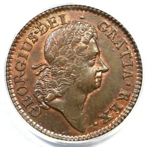 1723 PCGS MS 62 RB Wood's Hibernia Colonial Copper Coin 1/2p
