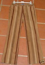 ESCADA SUEDE LEATHER BROWN STRIPED PANTS 42 $965 LUX!!!