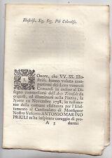 O395-REP.VENETA-VICENZA-DESCRIZIONE ARCO TRIONFALE IN ONORE AL VESCOVO PRIULI