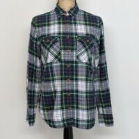 J Crew Oxford Shirt Womens Size 4 Green Blue Plaid Button Up Long Sleeve Top