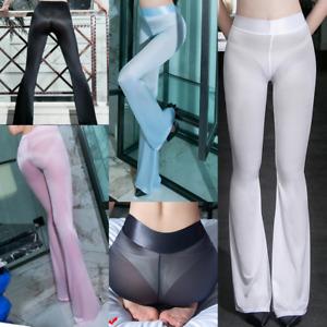 Women Shiny Silky Pants Flared Trousers Sheer Skinny Sexy Legging Yoga Fitness