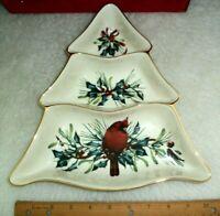 Lenox Christmas Serving Dish Tree Shaped Cardinal Bird Winter Holly Leaves