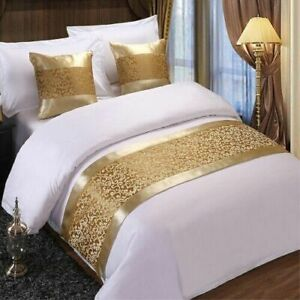 Champagne Floral Bedspreads Bed Runner Throw Bedding Single Queen King Bed Cover