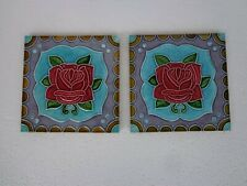 Old Vintage Collectible Rare Design of Flower Ceramic Tiles Made In Japan 1940s