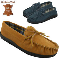 MENS GENUINE SUEDE LEATHER MOCCASIN LOAFER TARTAN LINED SLIP ON SHOES SIZES 7-12