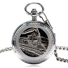 Vintage Steam Train Mechanical Pendant Necklace Chain Mens Pocket Watch Gifts