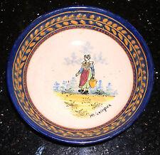 Antique HB Quimper plat/bol-peint main-entièrement marquée. - Certains l'âge.