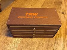 """VINTAGE HEAVY DUTY 4 DRAWER STEEL """"TRW ELECTRONIC PRODUCTS"""" PARTS BOX"""
