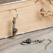 925 Silver Safety Pin Crown Drop Earring