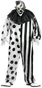 Evil Scary Killer Klown Clown Black White Adult Costume with Mask Standard Size