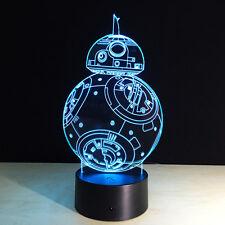 Night Light Lamp Acrylic 3D Merry Christmas Star Wars BB-8 Decoration Hot Sale