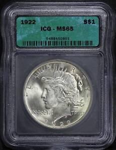 1922 Peace Dollar ICG MS-65