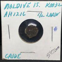 MALDIVES ISLAND - 1/2 LARIN - AH 1216 - Copper - Coin - KM #32- Scarce !