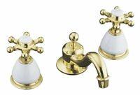 KOHLER Antique Widespread Lavatory Faucet Bathroom Sink Hardware Polished Brass