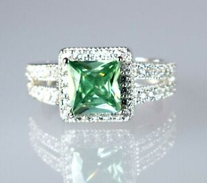 925 Silver 4.59 Ct Green Diamond Solitaire Halo Ring Women's Latest Collection