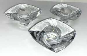 3 NAMBE Clear Crystal PIROUETTE Votive Holders Candle