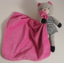 Carter's Gray Kitty Cat in Navy Striped Dress Hot Pink Blanket Lovey Rattle HTF