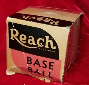 Early 1940s WWII Era Reach Baseball Ball BOX ONLY vtg RARE Antique History