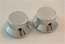 Guitar Hardware METAL TOP HAT Skirt KNOBS Stratocaster style - Set of 2 - CHROME