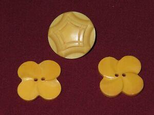 Lot Vintage Buttons Clover Butterscotch Bakelite? Gold/Yellow Snap