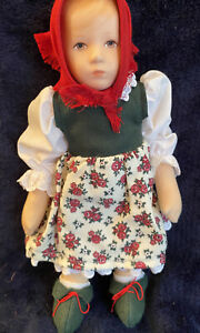 Kathe Kruse Doll Hangtag 9 IN Original Costume Cloth Doll