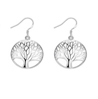925 STAMPED STERLING SILVER TREE OF LIFE DANGLE DROP EARRINGS UK SELLER