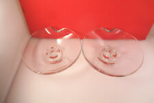 Vintage Etched Dandelion Clear Glass Pair of Candle Holders